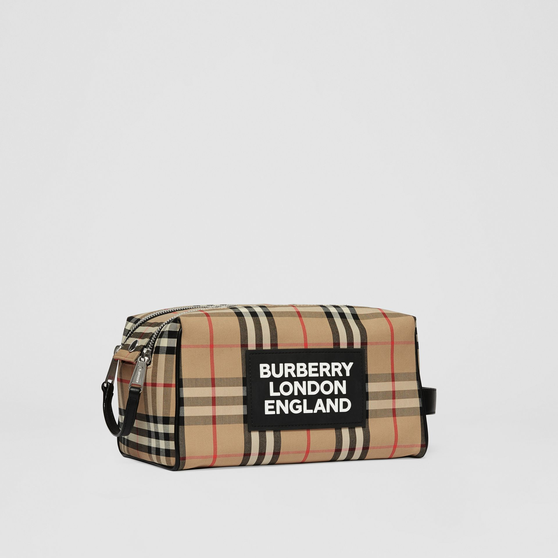 Logo Appliqué Vintage Check Travel Pouch in Archive Beige - Men | Burberry - gallery image 6
