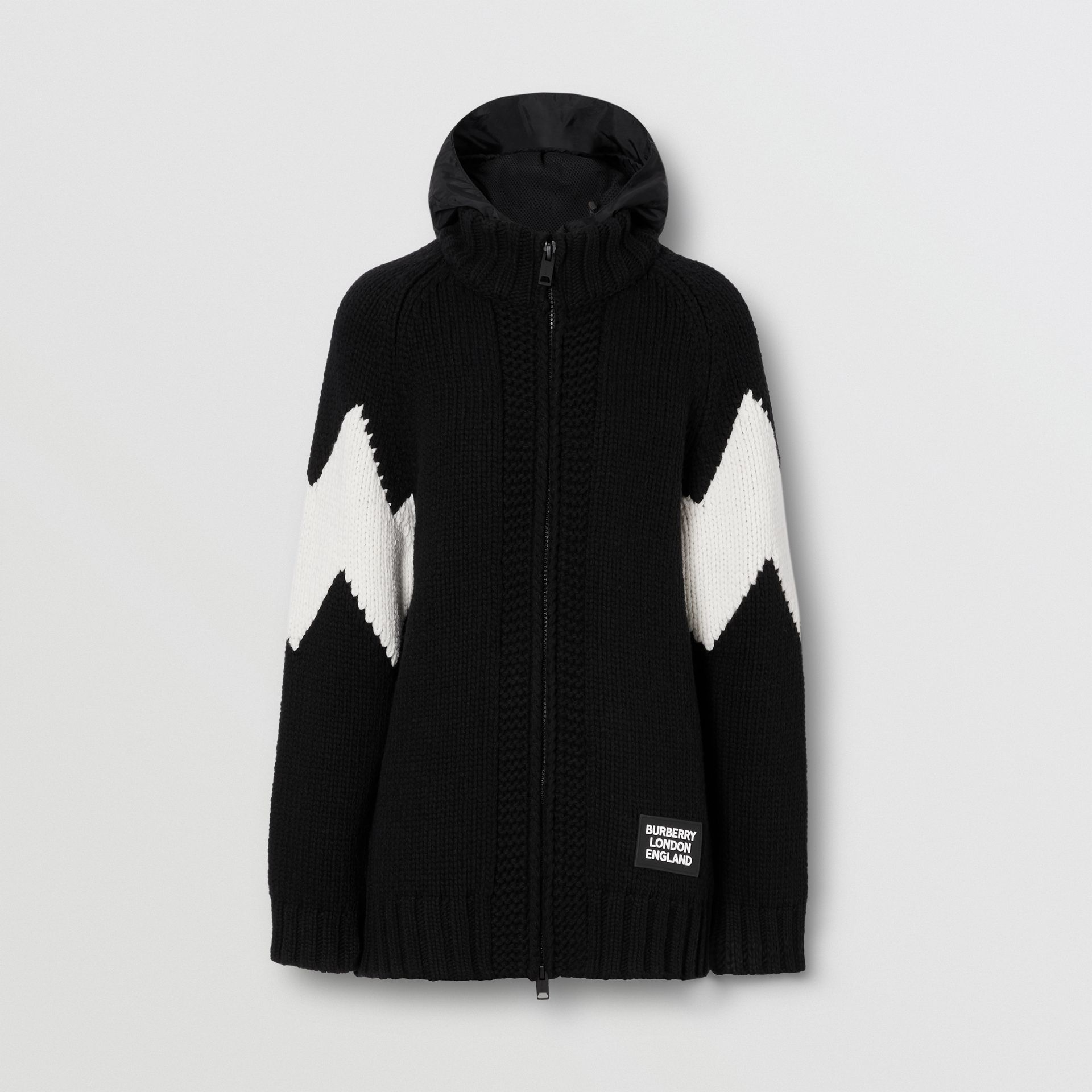 Detachable Hood Two-tone Wool Cashmere Cardigan in Black - Women | Burberry - gallery image 3