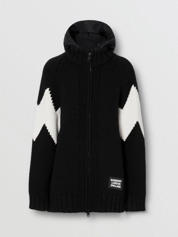 Detachable Hood Two-tone Wool Cashmere Cardigan in Black
