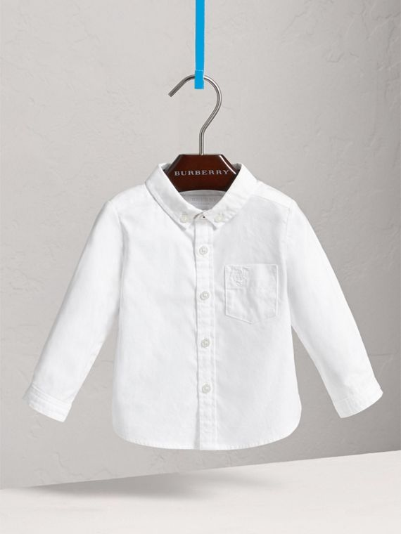 Button-down Collar Cotton Oxford Shirt in White | Burberry - cell image 2