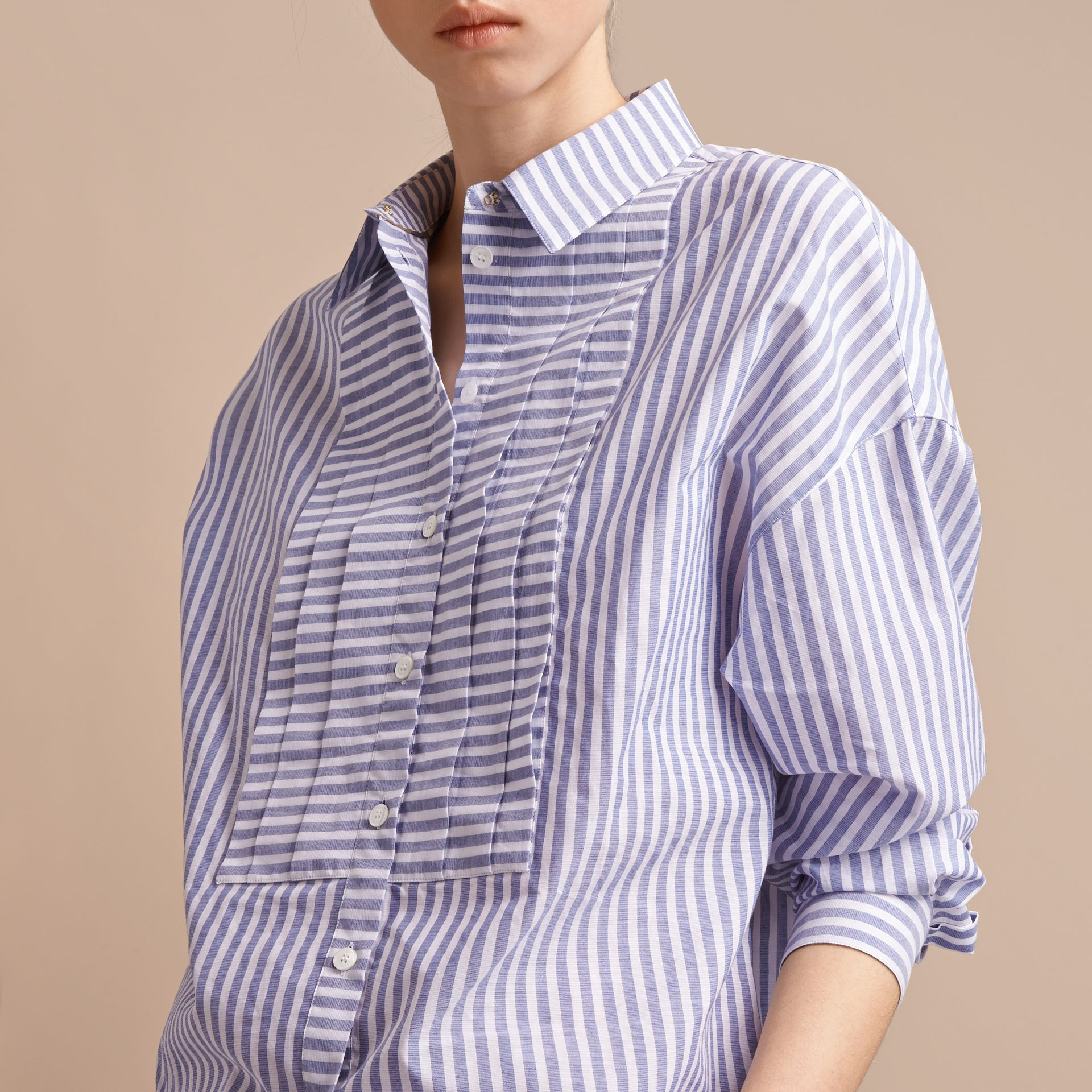 Pleated Bib Striped Cotton Shirt - gallery image 5