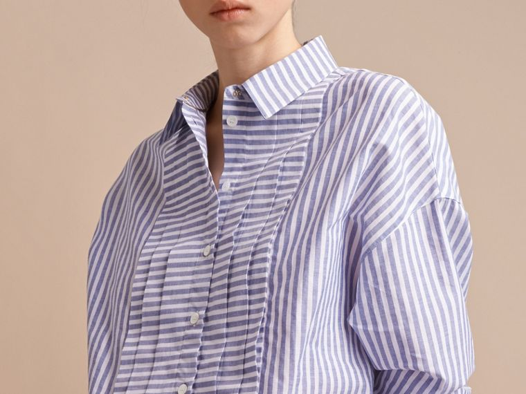 Pleated Bib Striped Cotton Shirt - cell image 4