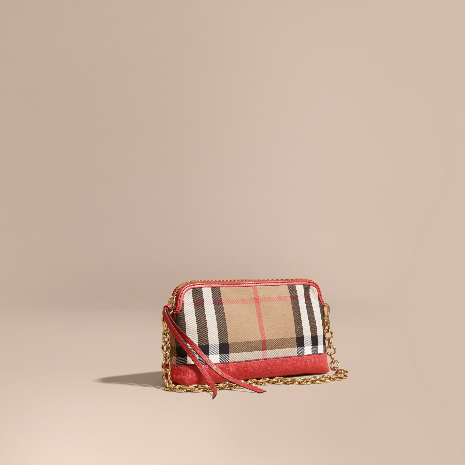 House Check and Leather Clutch Bag Russet Red - gallery image 1