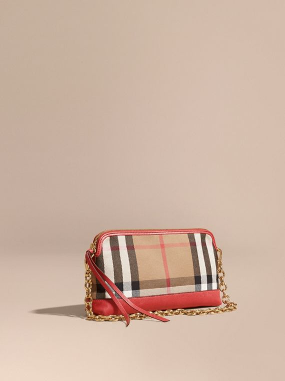 House Check and Leather Clutch Bag Russet Red