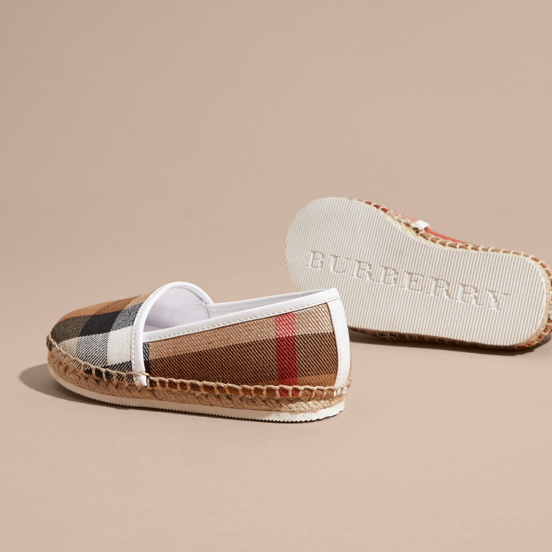 Leather and House Check Espadrilles in Optic White - gallery image 4