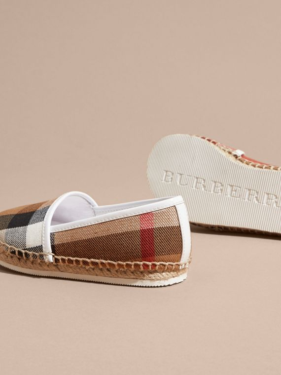 Leather and House Check Espadrilles in Optic White | Burberry - cell image 3
