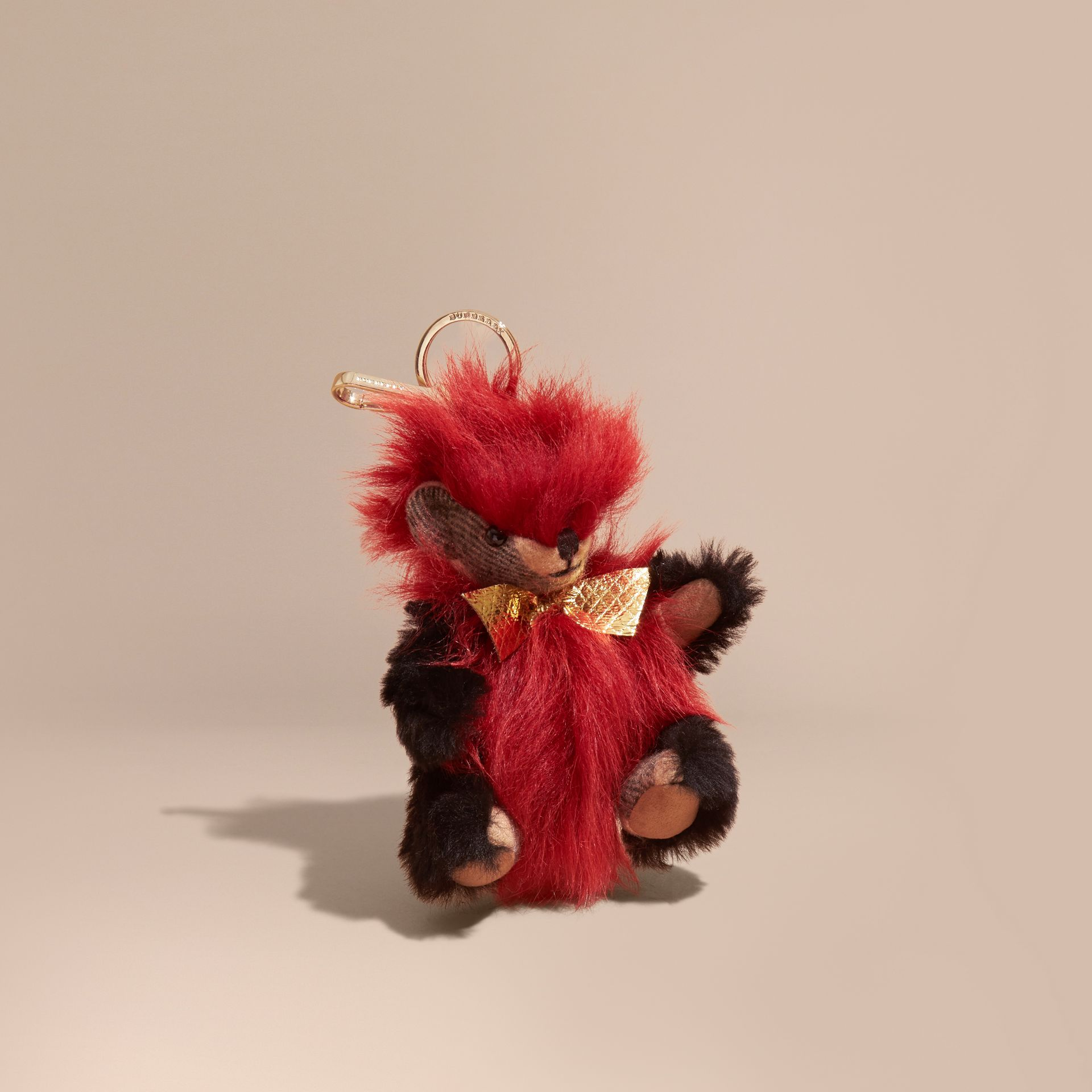 Thomas Bear Pom-Pom Charm in Check Cashmere in Parade Red - gallery image 1