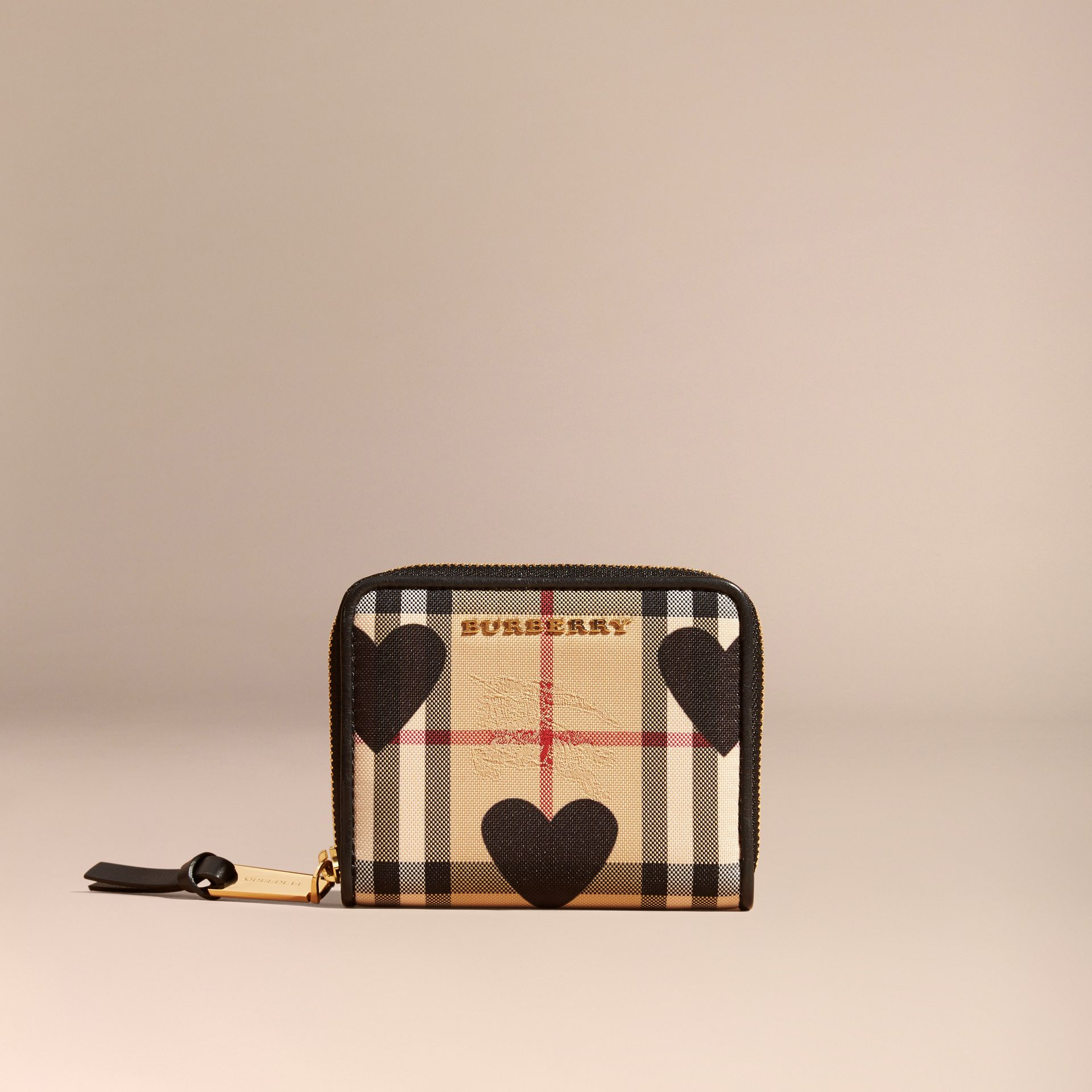 Black Heart Print Horseferry Check Ziparound Wallet - gallery image 6