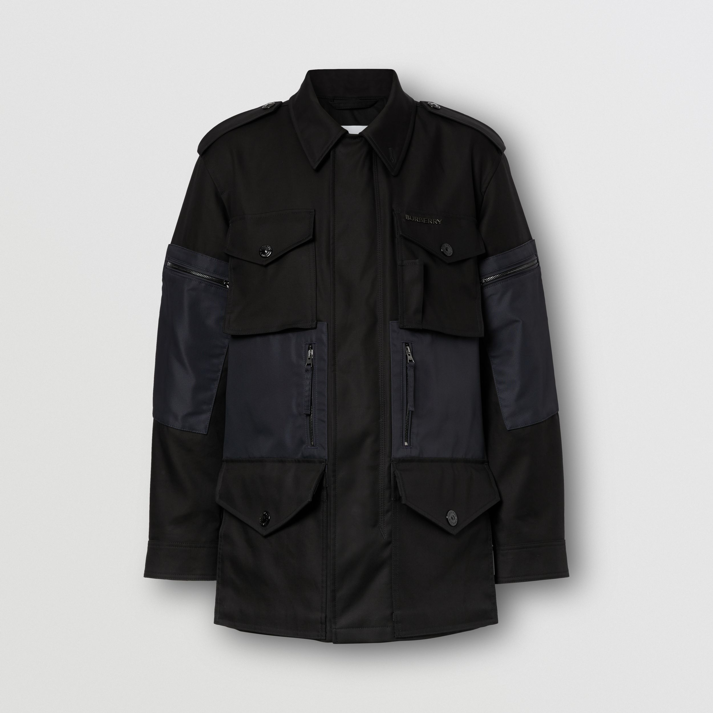 Contrast Pocket Cotton Gabardine Field Jacket in Black - Men | Burberry - 4