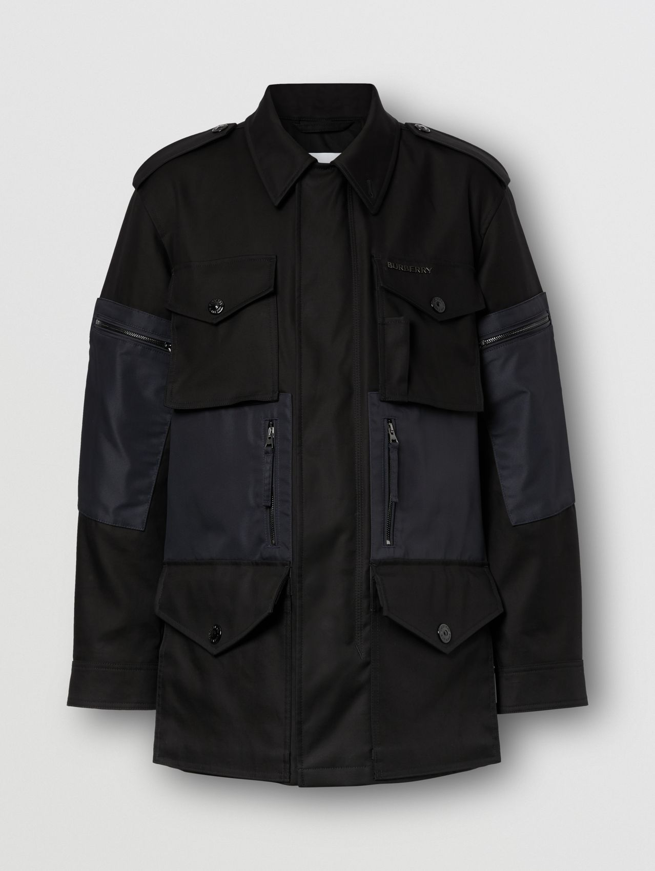 Contrast Pocket Cotton Gabardine Field Jacket in Black