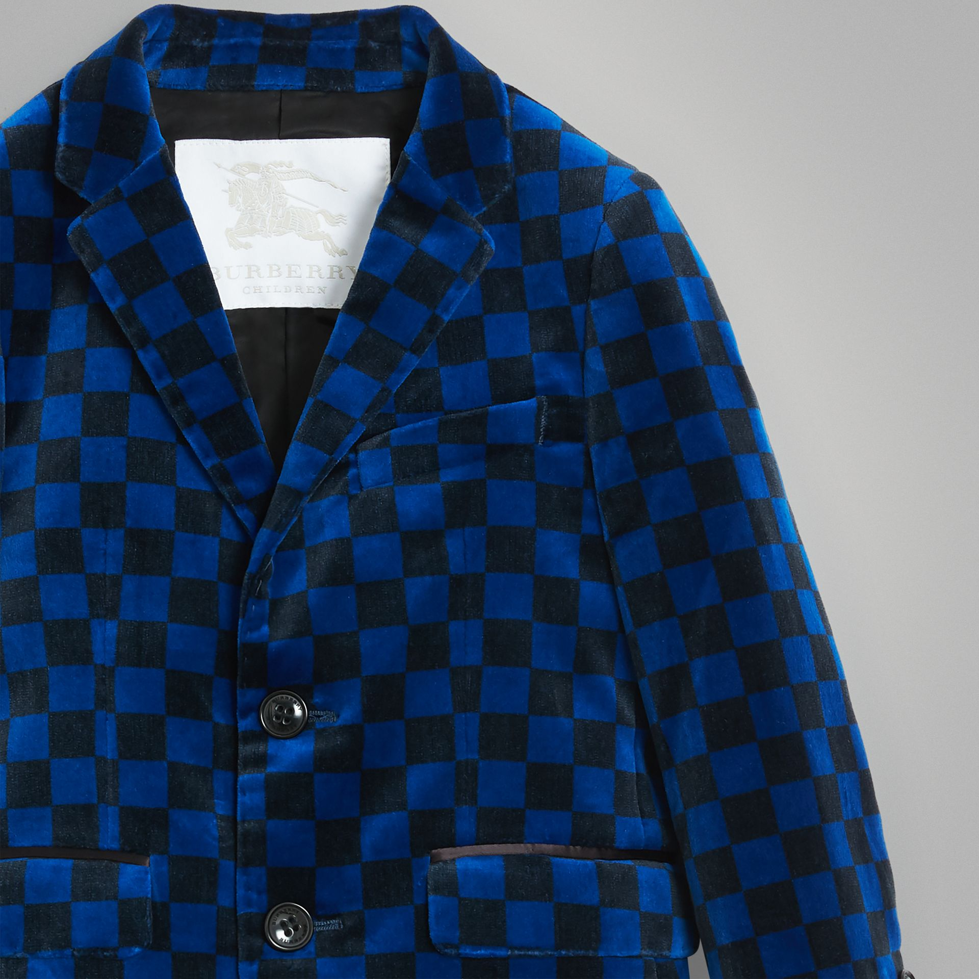 Chequer Stretch Velvet Jacket in Bright Blue | Burberry - gallery image 4