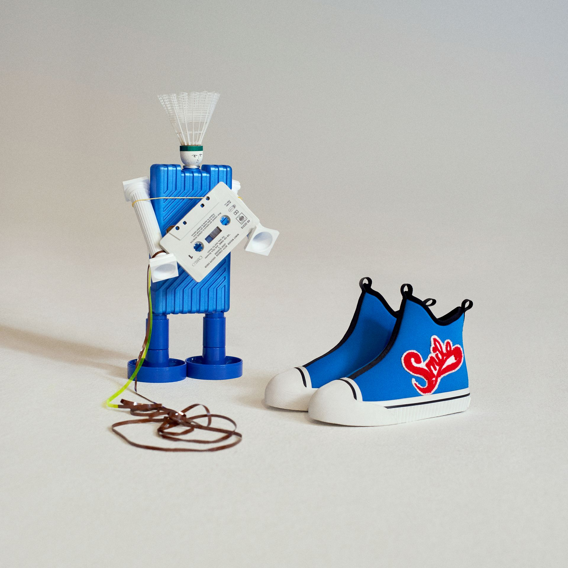 Embroidered Neoprene High-top Sneakers in Bright Sky Blue | Burberry United States - gallery image 1
