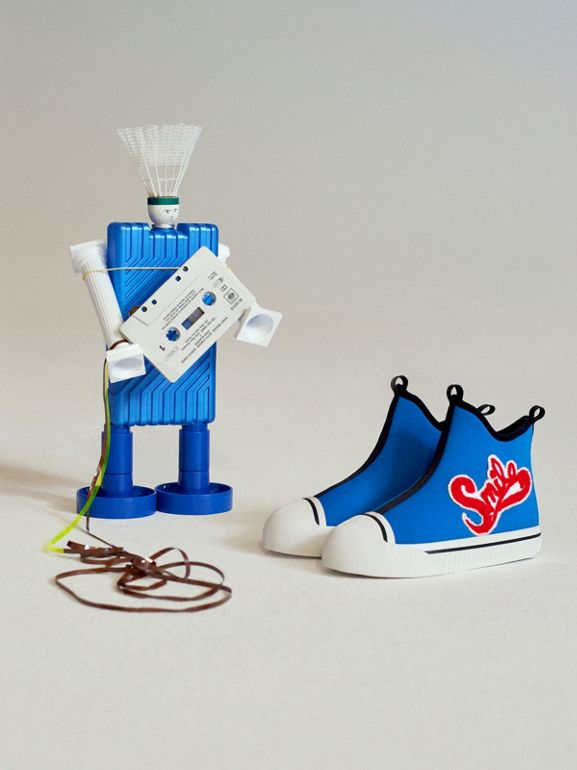 Embroidered Neoprene High-top Sneakers in Bright Sky Blue | Burberry - cell image 1