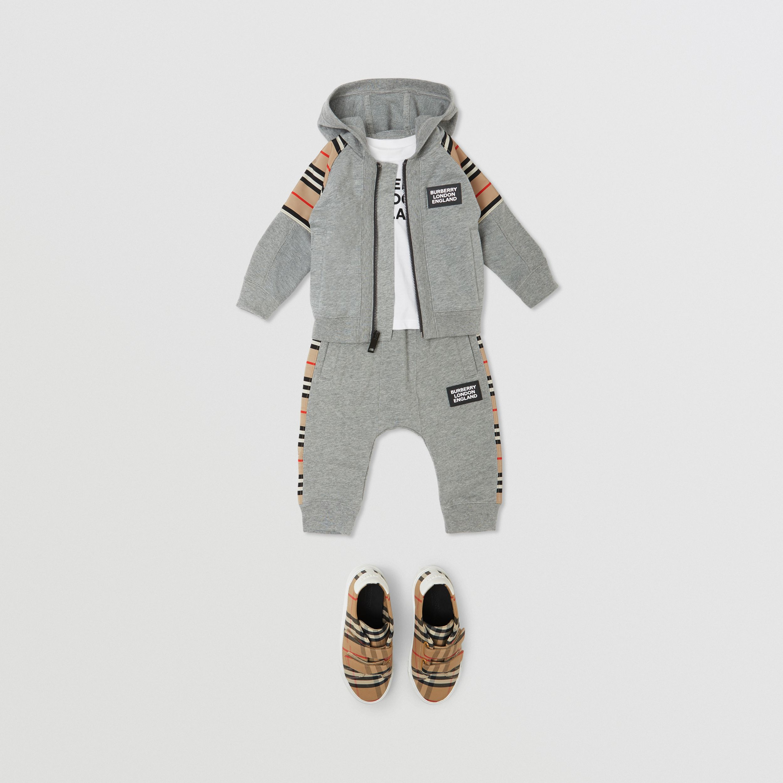 Icon Stripe Panel Cotton Jogging Pants in Grey Melange - Children | Burberry - 3