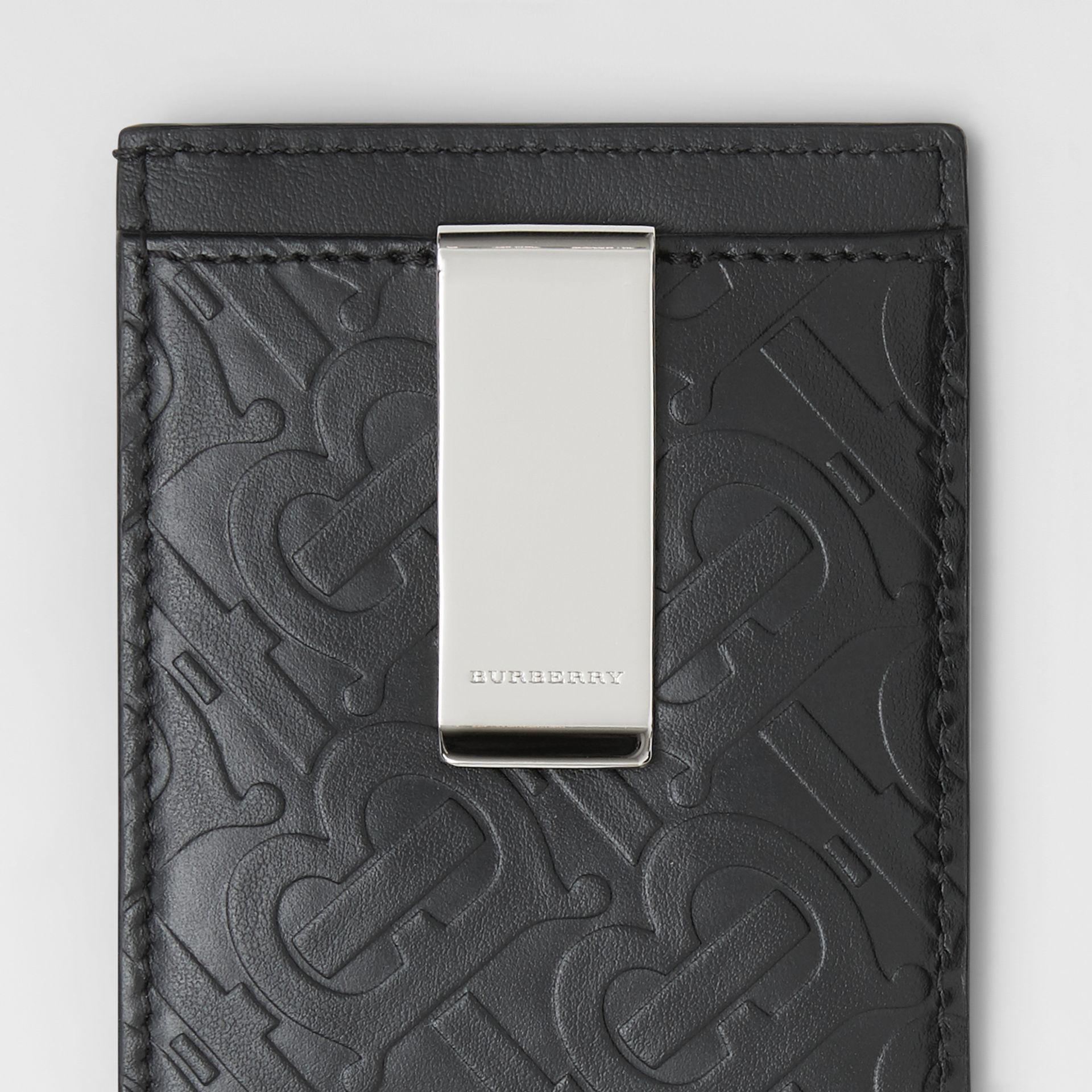 Monogram Leather Money Clip Card Case in Black - Men | Burberry United States - gallery image 1