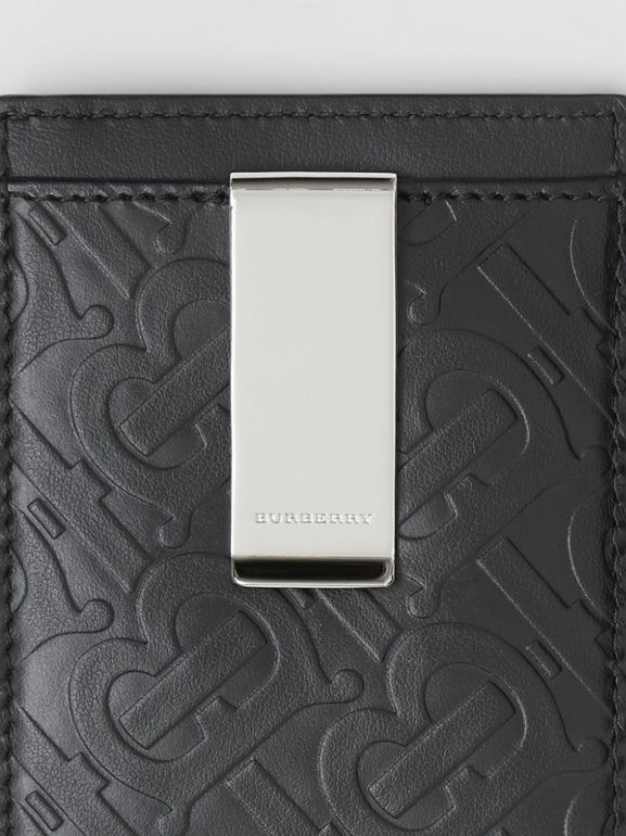 Monogram Leather Money Clip Card Case in Black - Men | Burberry United States - cell image 1