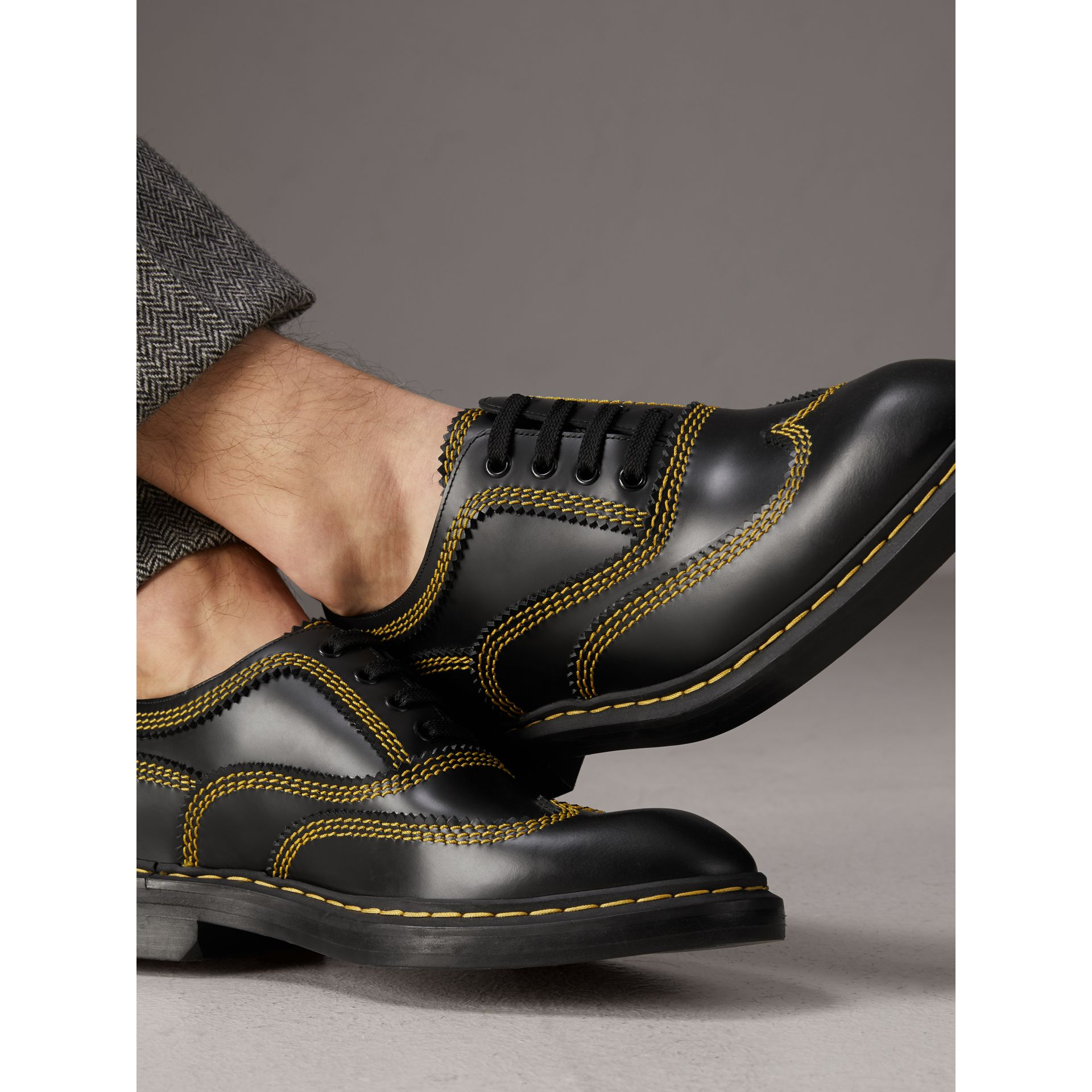 Topstitched Leather Derby Shoes in Black - Men | Burberry - gallery image 3