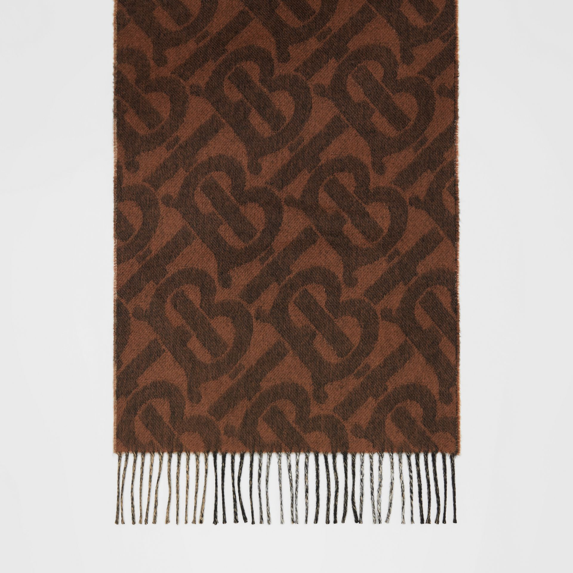 Reversible Check and Monogram Cashmere Scarf in Dark Chestnut Brown | Burberry - gallery image 3