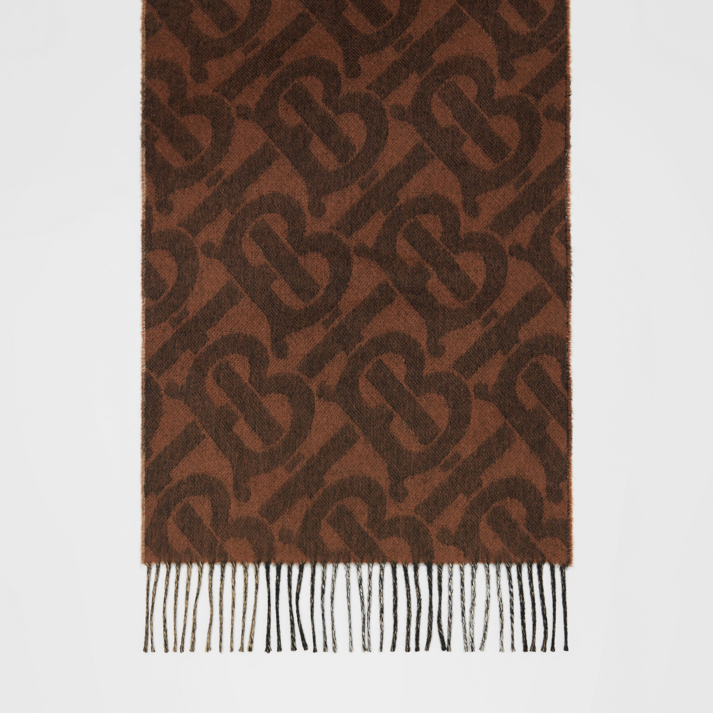 Reversible Check and Monogram Cashmere Scarf in Dark Chestnut Brown | Burberry - 4