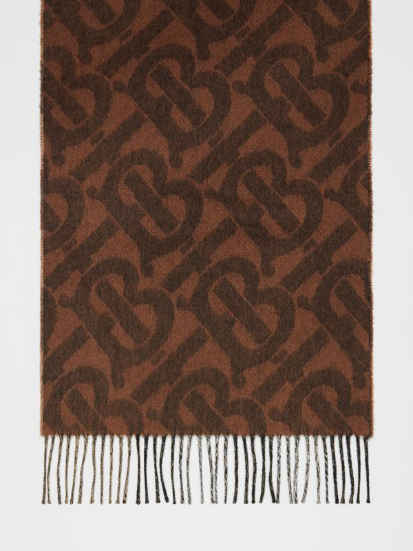 Reversible Check and Monogram Cashmere Scarf in Dark Chestnut Brown | Burberry - cell image 3