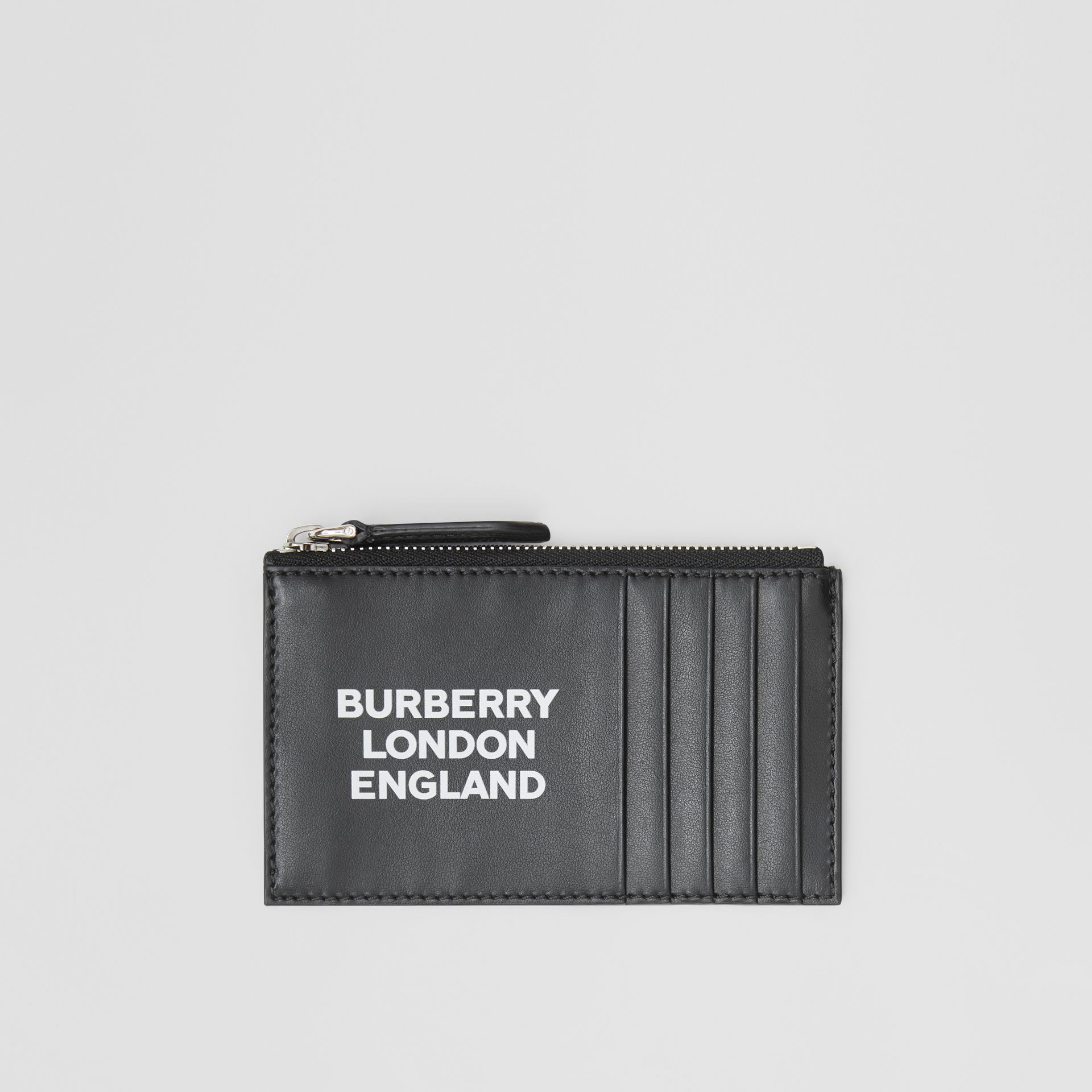 Logo Print Leather Zip Card Case in Black - Men | Burberry Canada - gallery image 0