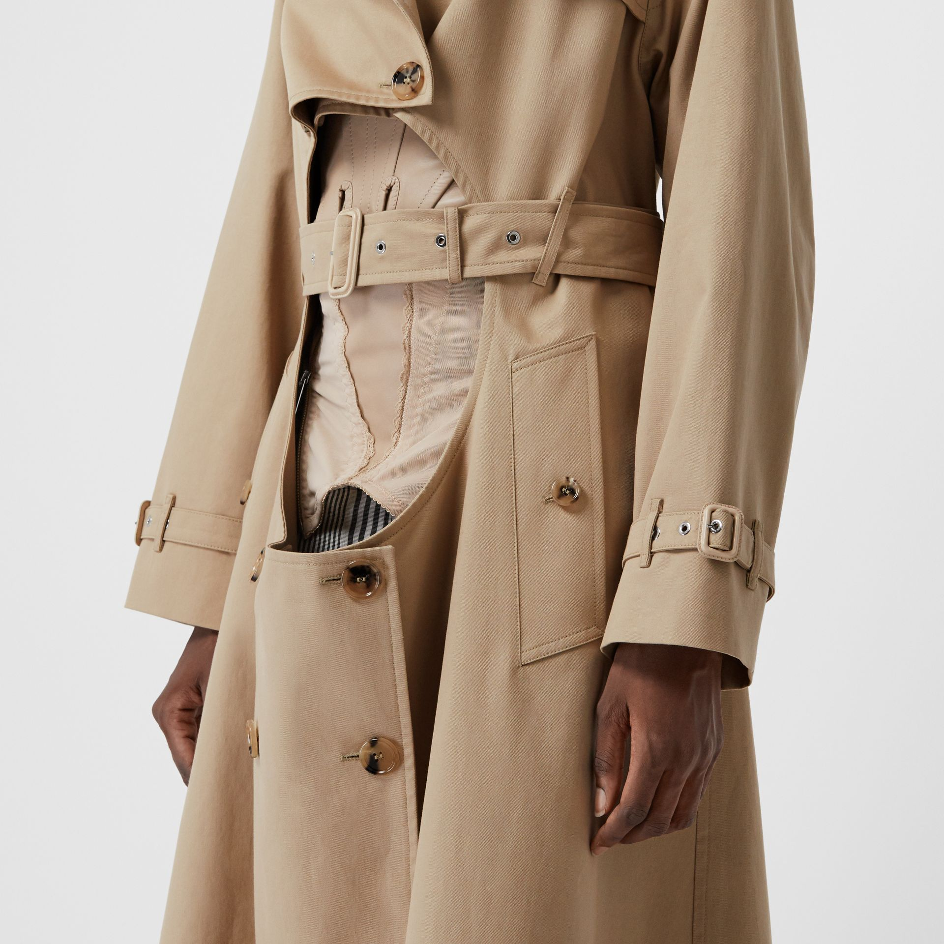 Cotton Gabardine Step-through Trench Coat in Soft Fawn - Women | Burberry Australia - gallery image 6