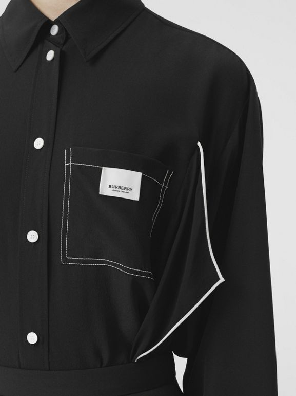 Piping Detail Silk Oversized Shirt and Tie Twinset in Black - Women | Burberry - cell image 1