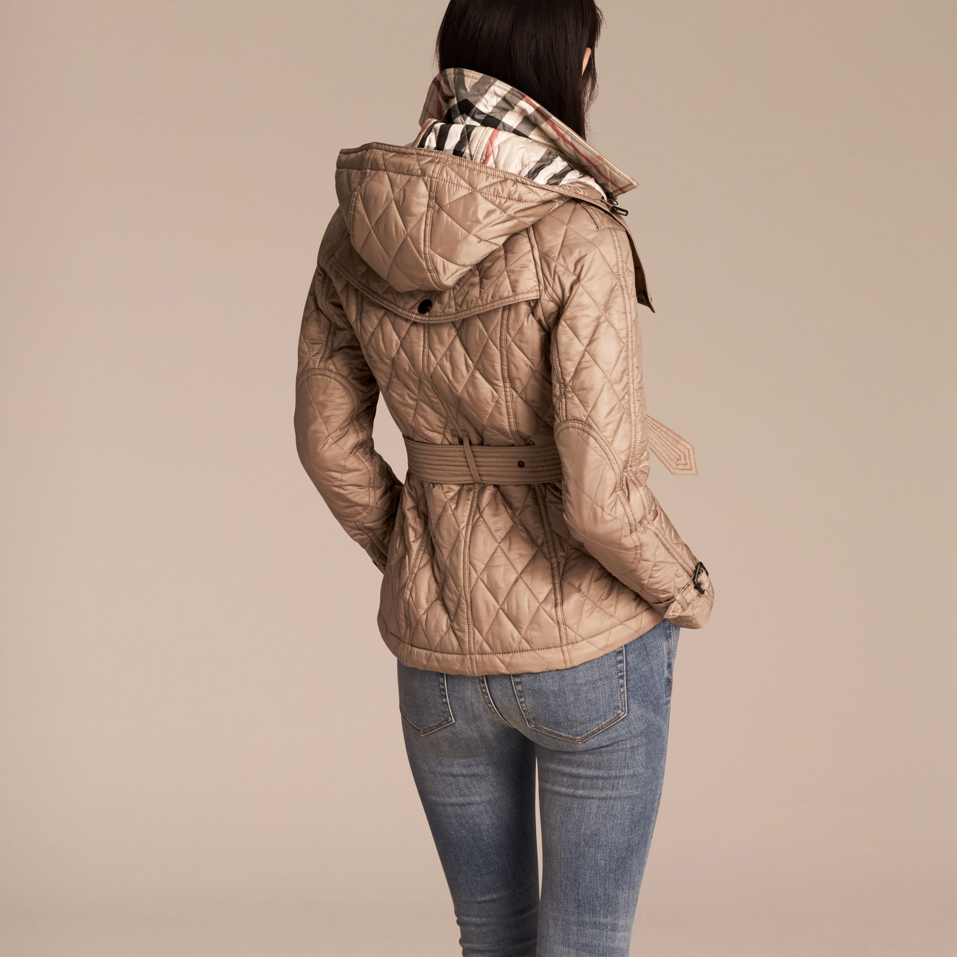 Quilted Trench Jacket with Detachable Hood Pale Fawn - gallery image 3