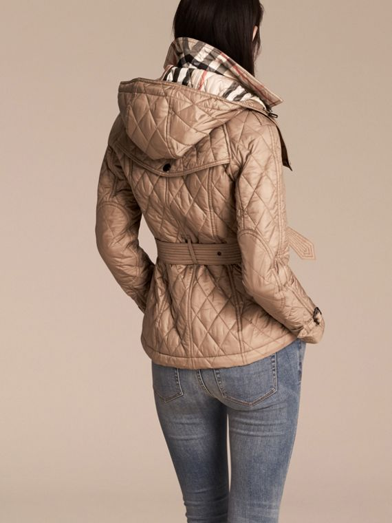 Quilted Trench Jacket with Detachable Hood Pale Fawn - cell image 2