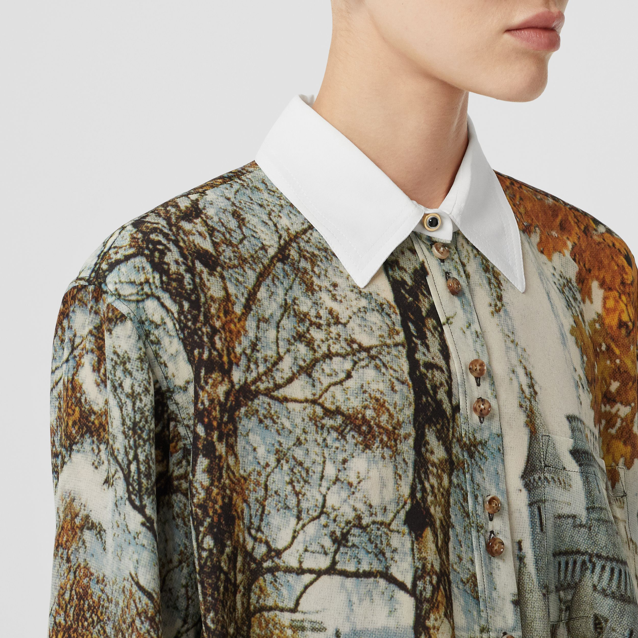 Castle Print Silk Shirt in Pale Cream - Women | Burberry - 2