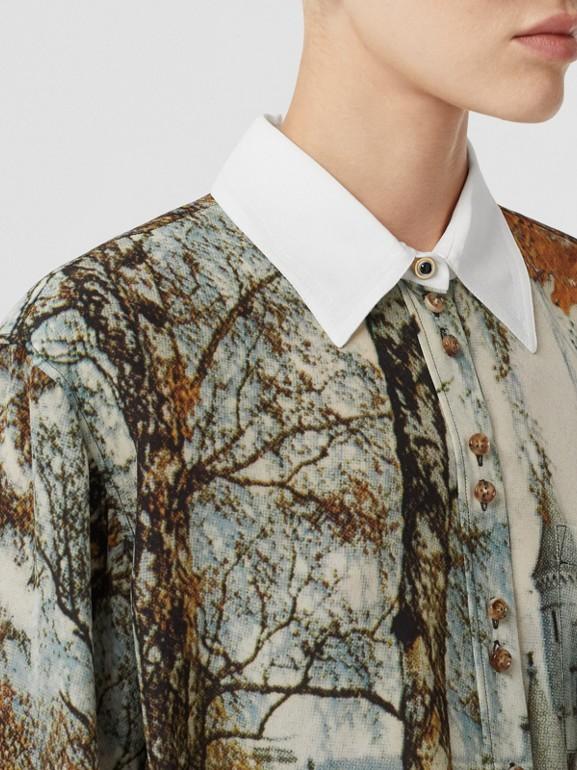 Castle Print Silk Shirt in Pale Cream - Women | Burberry United Kingdom - cell image 1