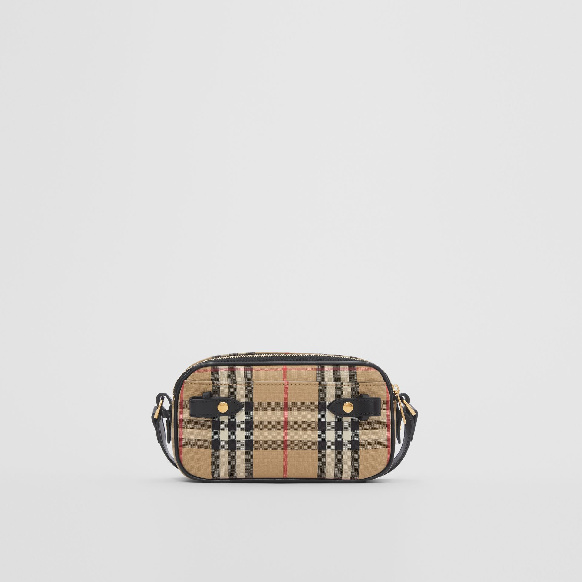 Mini Vintage Check and Leather Camera Bag in Archive Beige | Burberry - gallery image 8