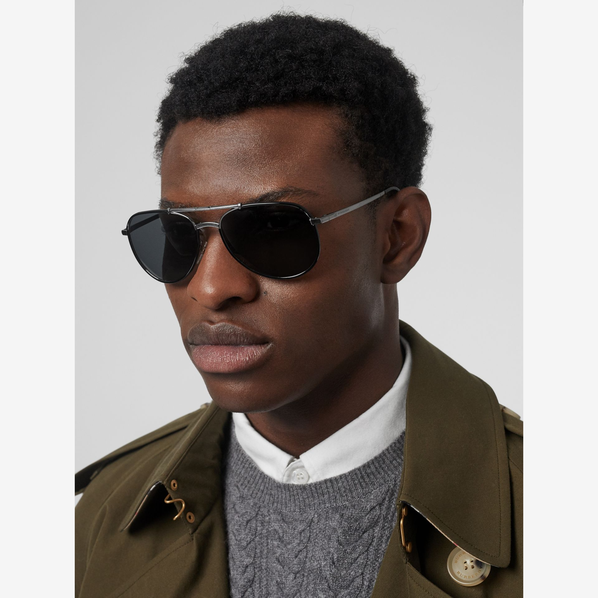 Folding Pilot Sunglasses in Black - Men | Burberry - gallery image 2
