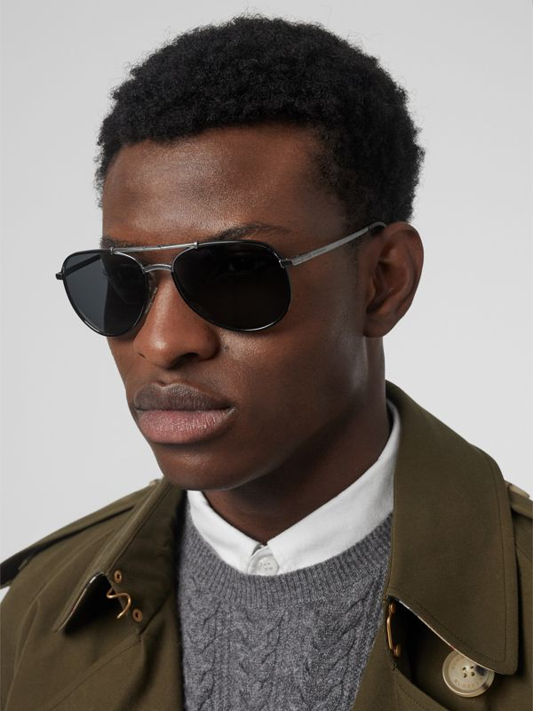 Folding Pilot Sunglasses in Black - Men | Burberry Australia - cell image 2