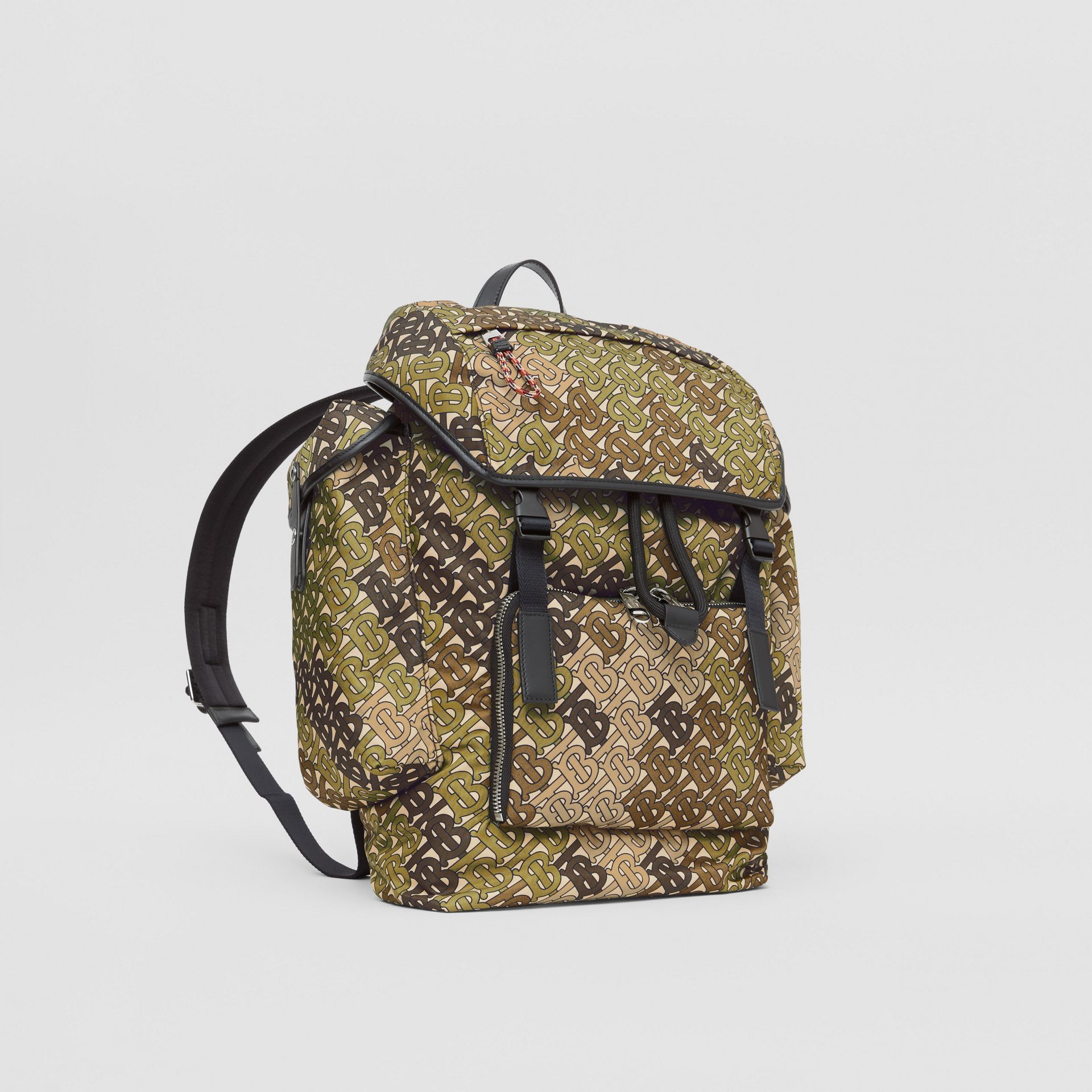Medium Monogram Print Nylon Backpack in Khaki Green - Men | Burberry Singapore - gallery image 6