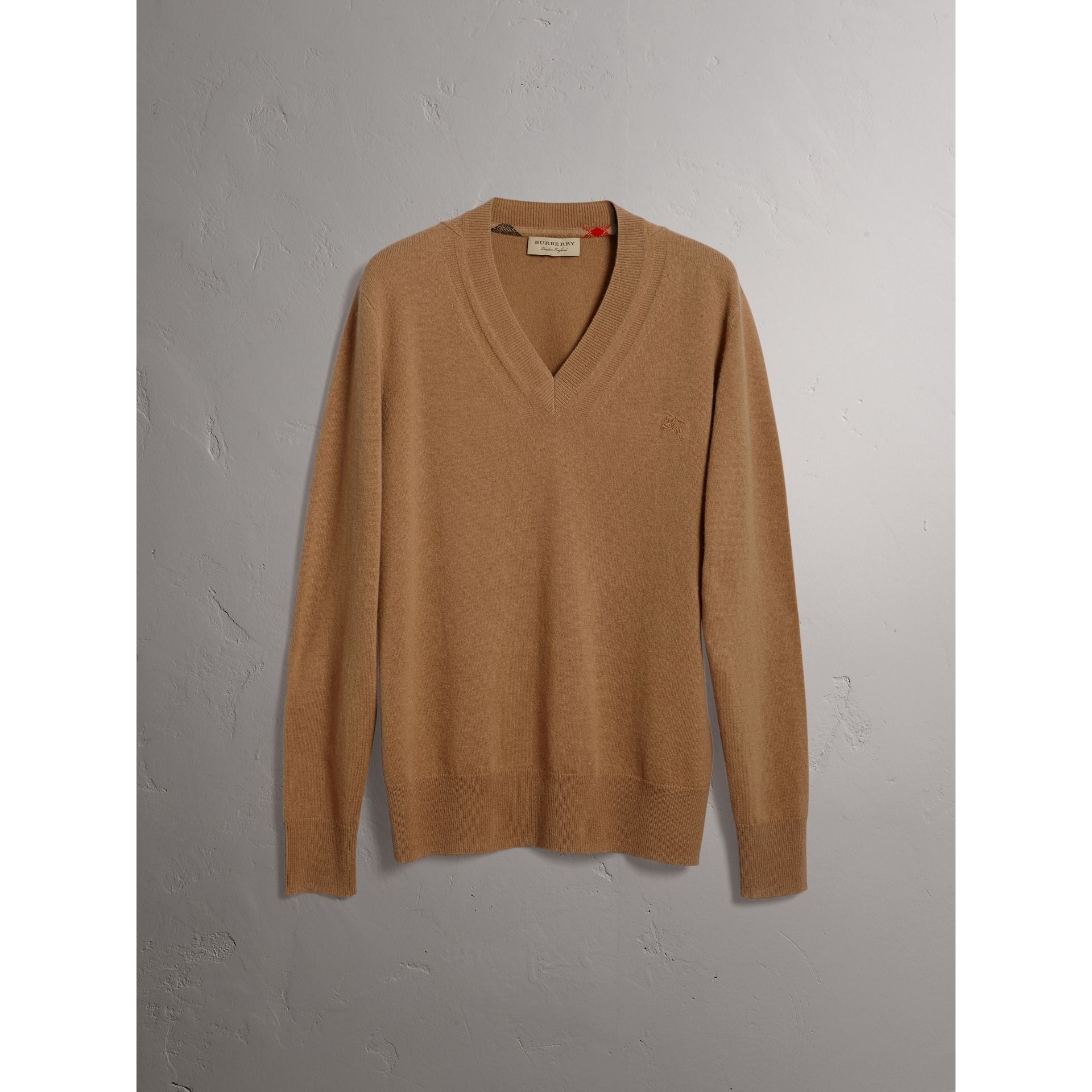 Cashmere V-neck Sweater in Camel - Men | Burberry - gallery image 3