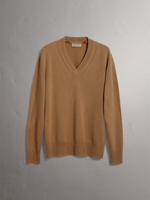 Cashmere V-neck Sweater in Camel - Men | Burberry United Kingdom - cell image 3