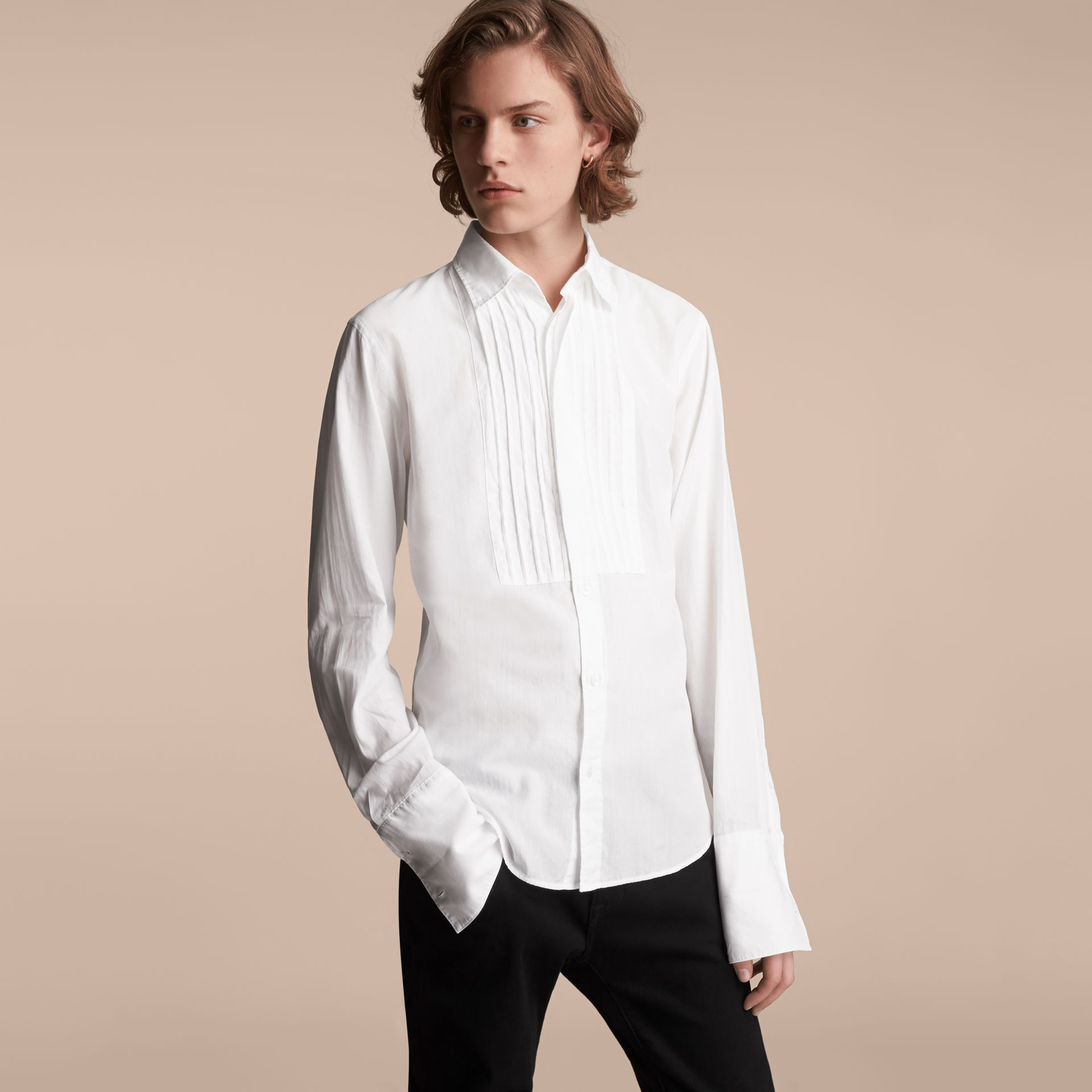 Unisex Double-cuff Pintuck Bib Cotton Shirt in White - Men | Burberry - gallery image 6