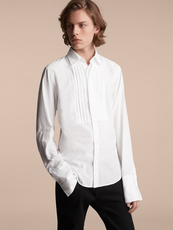 Unisex Double-cuff Pintuck Bib Cotton Shirt in White