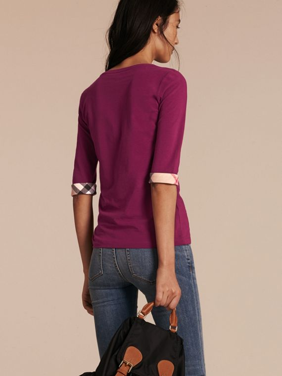 Check Cuff Stretch-Cotton Top Magenta Pink - cell image 2