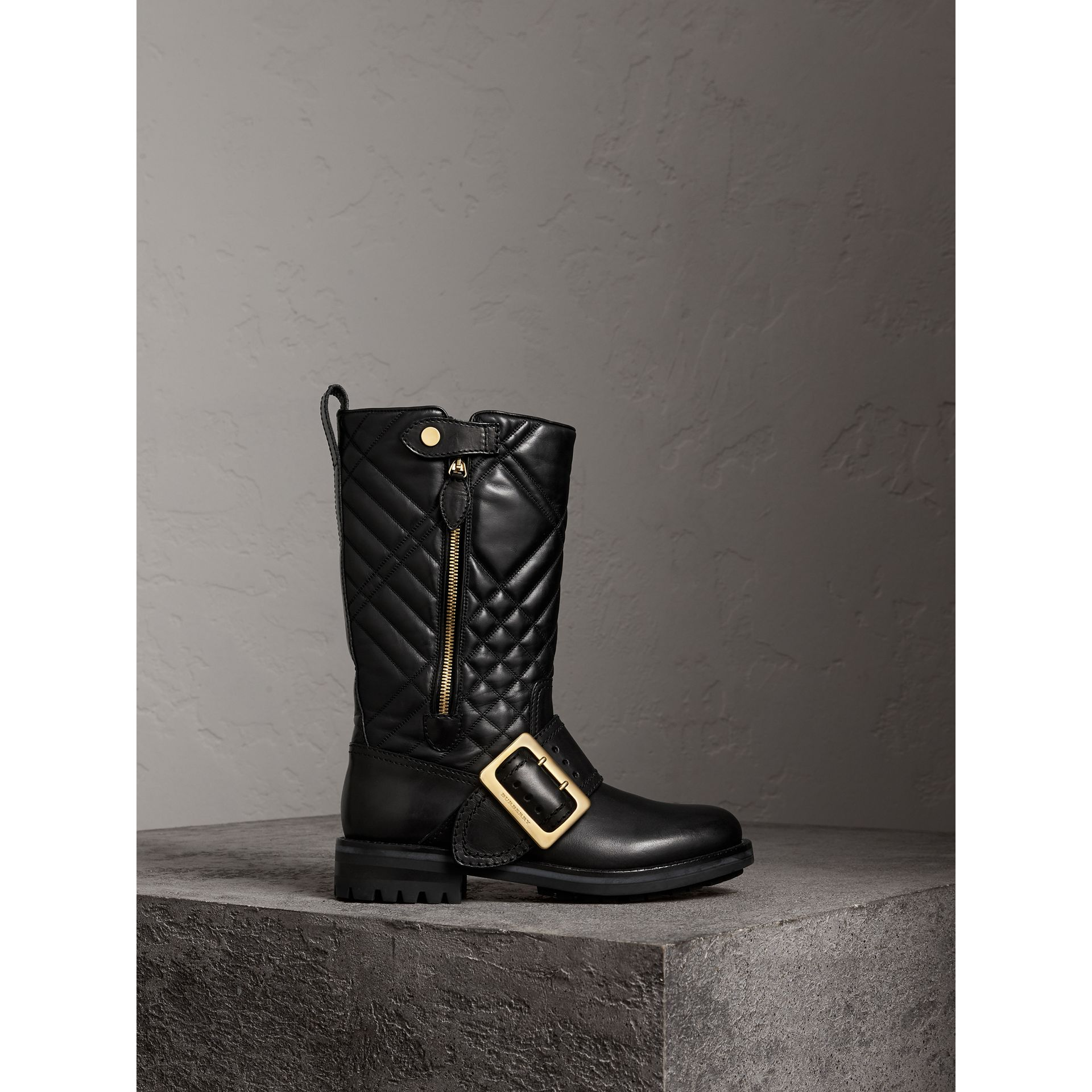 Buckle Detail Check Quilted Leather Boots in Black - Women | Burberry Canada - gallery image 1