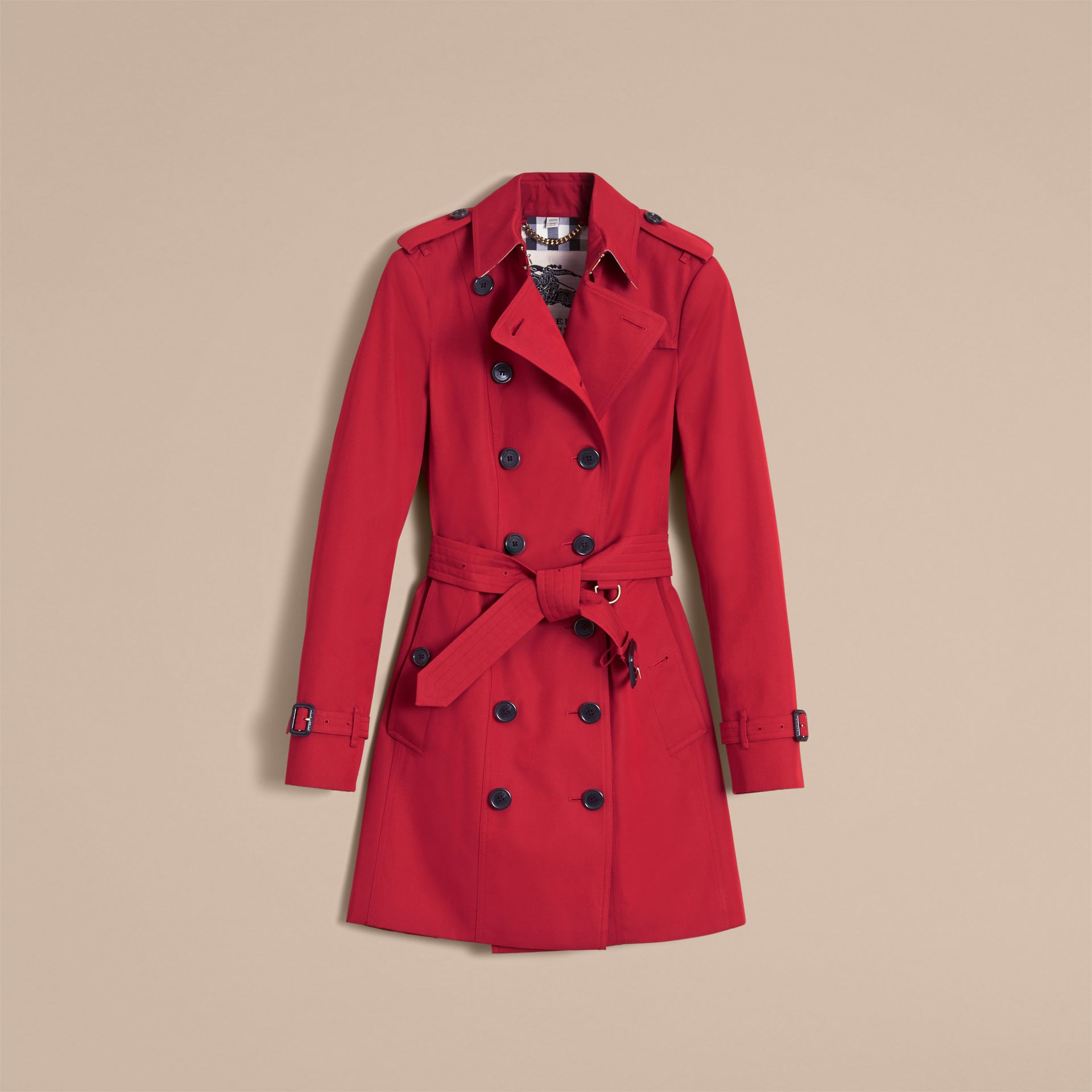 The Sandringham – Mid-length Heritage Trench Coat Parade Red - gallery image 4