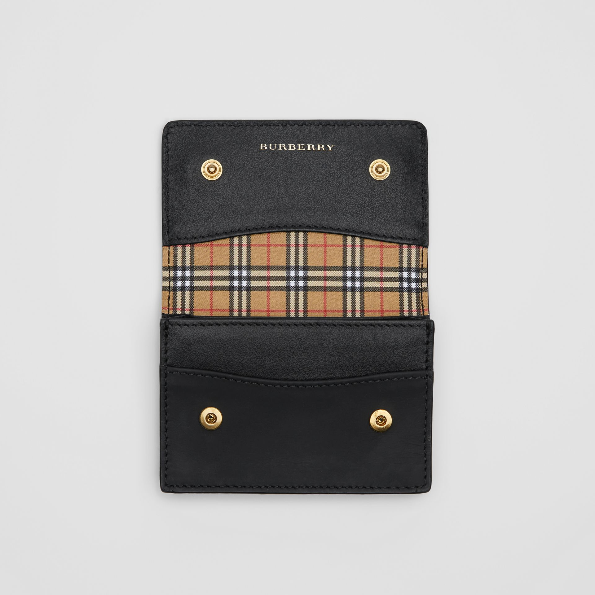 Small Scale Check and Leather Folding Card Case in Antique Yellow - Women | Burberry - gallery image 3