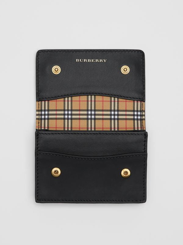 Small Scale Check and Leather Folding Card Case in Antique Yellow - Women | Burberry - cell image 3