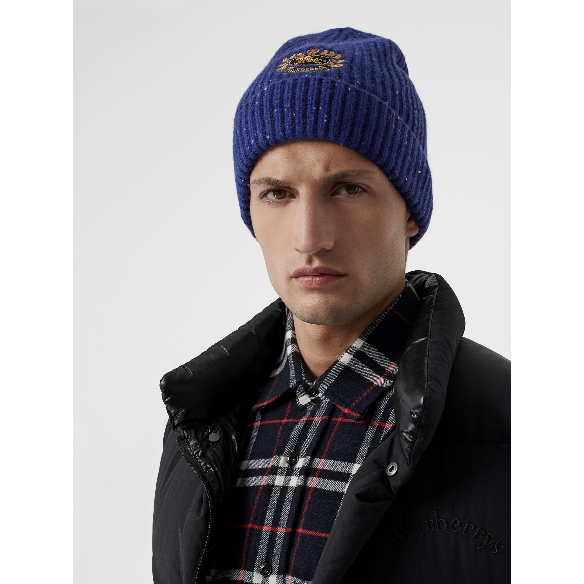 Embroidered Archive Logo Wool Blend Beanie in Navy | Burberry Singapore - gallery image 2
