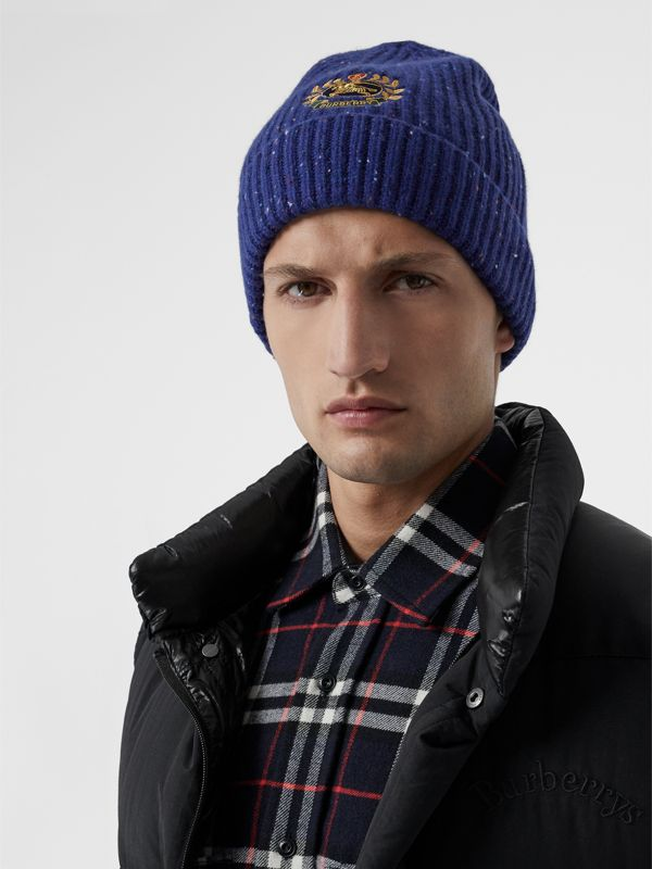 Embroidered Archive Logo Wool Blend Beanie in Navy | Burberry - cell image 2