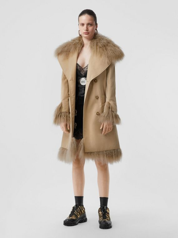 Shearling Trim Cotton Gabardine Belted Trench Coat in Honey