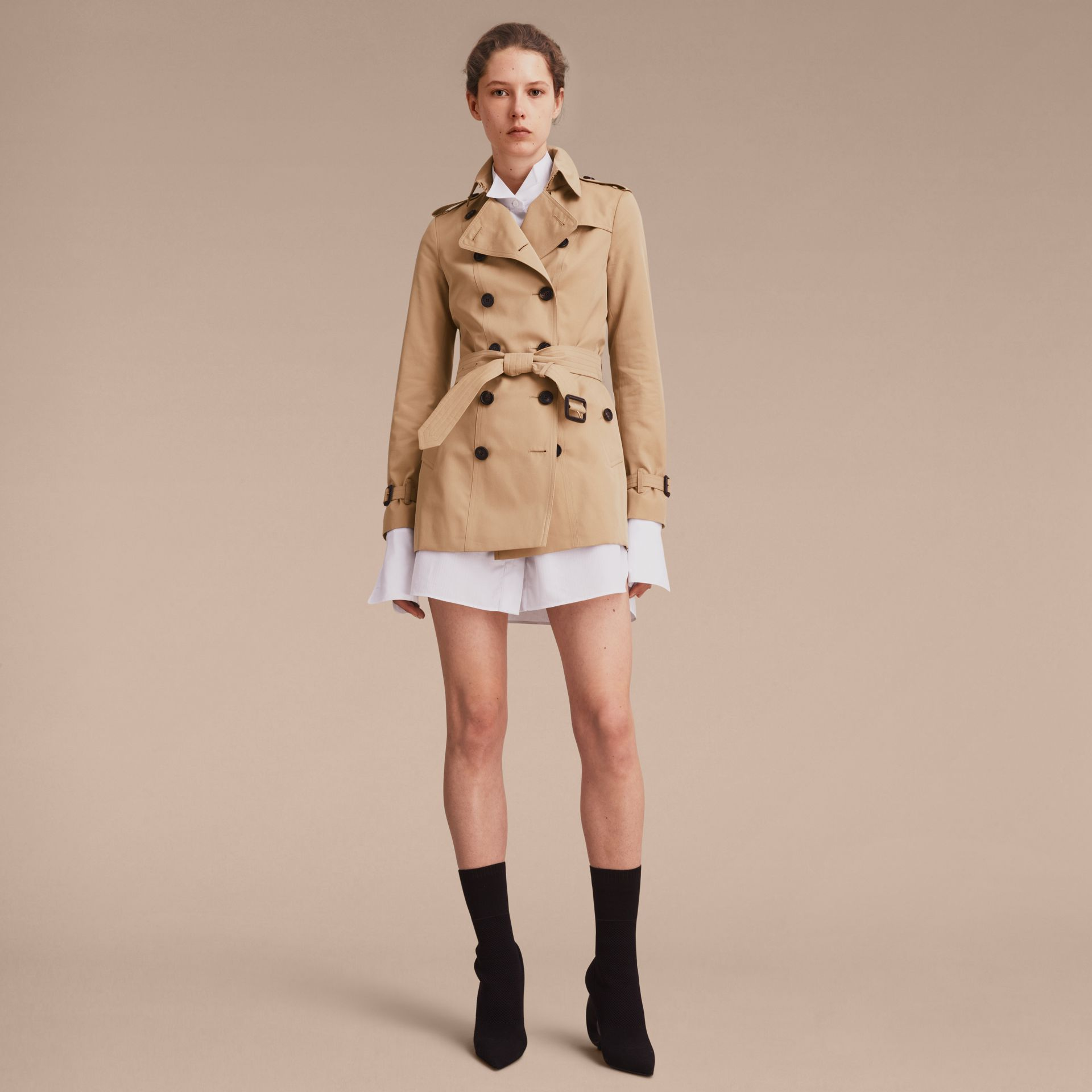 Honey The Sandringham – Short Heritage Trench Coat Honey - gallery image 8