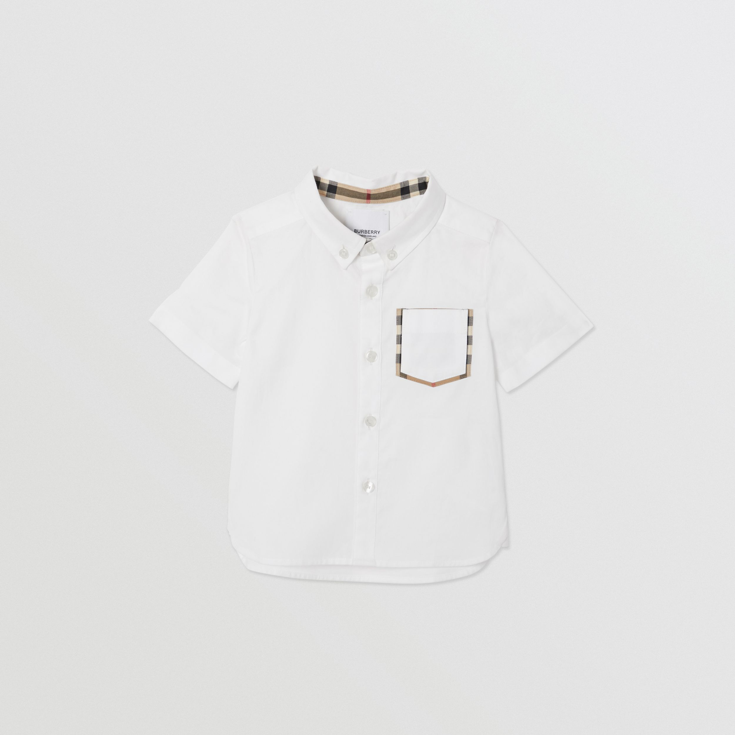 Short-sleeve Vintage Check Detail Cotton Oxford Shirt in White - Children | Burberry - 1