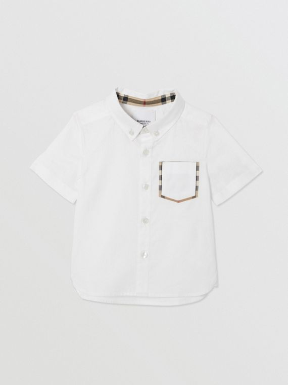 Short-sleeve Vintage Check Detail Cotton Oxford Shirt in White
